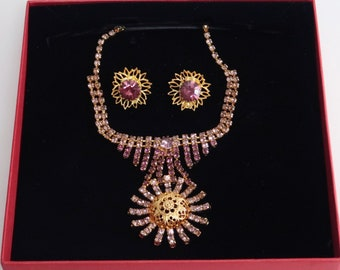 d90d9d6db08 Czech Vintage Costume Jewelry Rhinestone Necklace with Earrings Amethyst  Stones Gold Plated