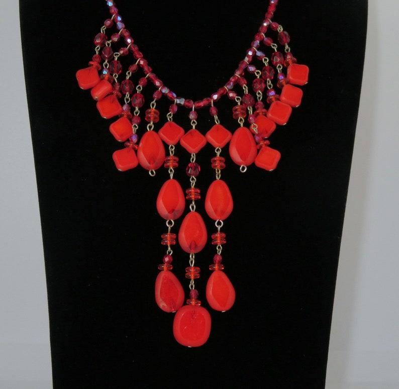 Vintage Bib Necklace Red Glass Beads Czechoslovakia image 0