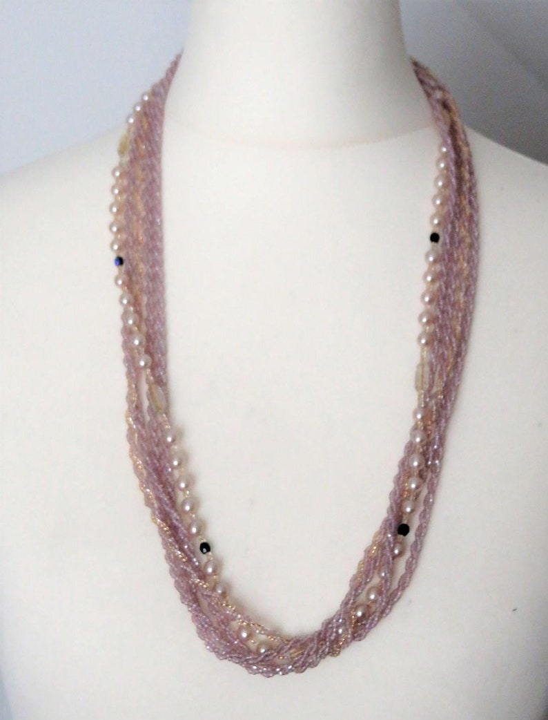 Czech Violet Seed Glass Beads Vintage Necklace image 0