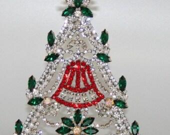 ON SALE Czech Vintage Rhinestone Christmas Tree, Holiday Ornament Decoration