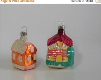 ON SALE Vintage Czech Glass Christmas Ornaments House, Marked Czechoslovakia