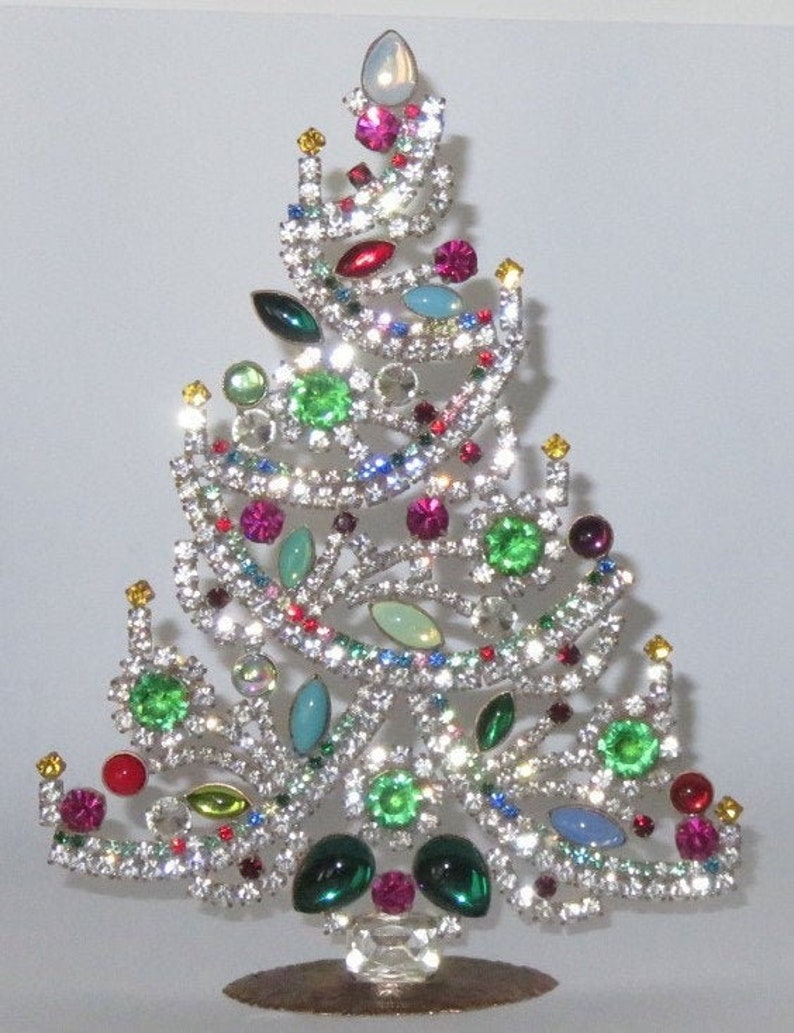 Handcrafted Cristmas Tree Colorful Czech Rhinestones and image 0