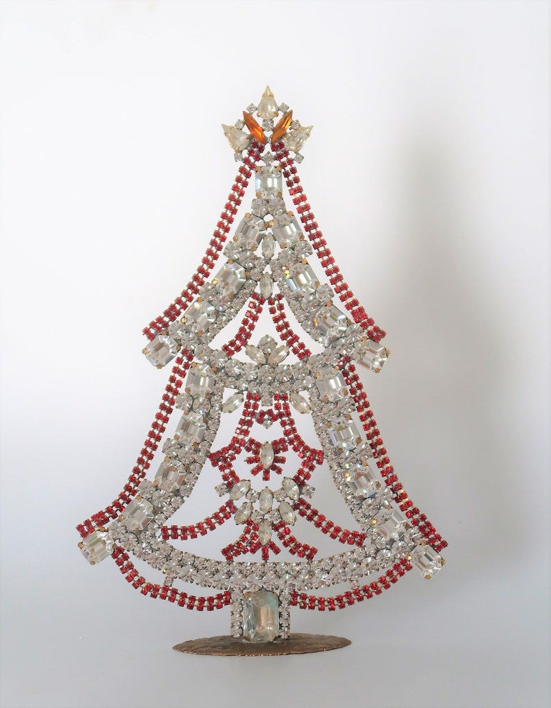 Czech Rhinestone Christmas Tree Movable Garlands Red and image 0