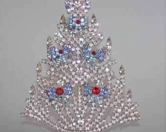 ON SALE Czech Rhinestone Christmas Tree, Vintage Christmas Tree with Blue Bows