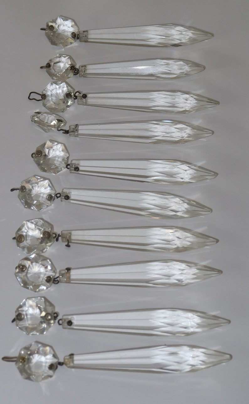 Art Deco Lot 10pcs Vintage Crystal Prisms Czech Bohemian image 0