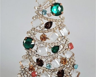 ON SALE Vintage Rhinestone Christmas Tree, Czech Glass Stones and Rhinestones
