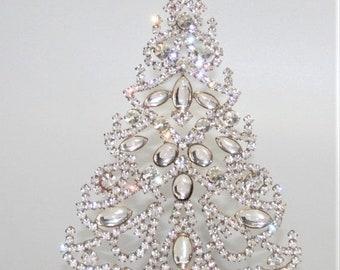 ON SALE Clear Crystal Rhinestone Christmas Tree, Czech Vintage Ornament