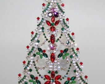 Vintage Czech Rhinestone Christmas Tree, Butterfly Tree, Vintage Home Décor Ornament