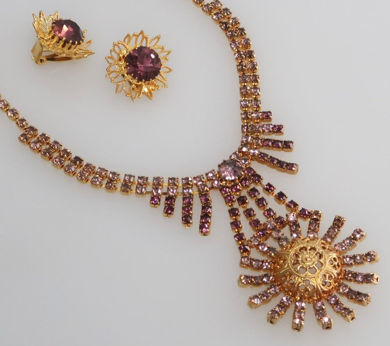 Czech Vintage Costume Jewelry Rhinestone Necklace with image 0