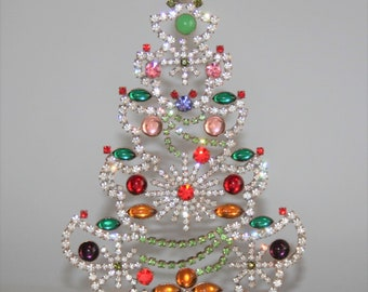 Czech Rhinestone Tree, Vintage Christmas Tree Ornament