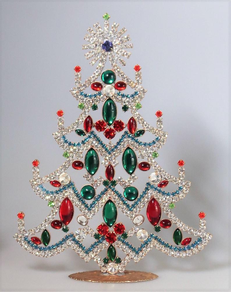Beautiful Vintage Czech Rhinestone Candle Christmas Tree image 0