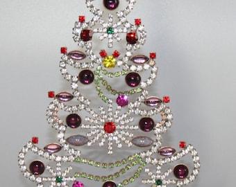 Czech Rhinestone Tree, Vintage Christmas Star Tree, Vintage Ornament