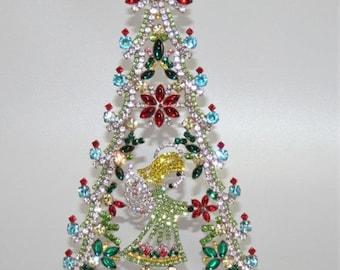 ON SALE Rhinestone Christmas Tree with Angel, Czech Vintage Holiday Decoration