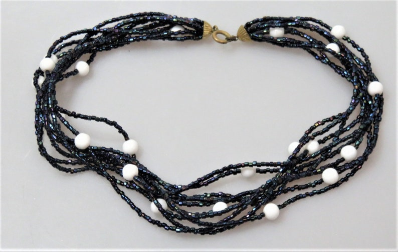 Vintage Rocaille Micro Glass Beads 10-Strand Necklace image 0