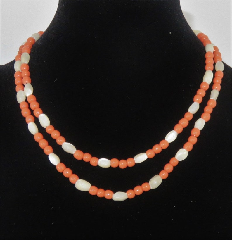 Coral and Mother-of-Pearl Glass Beads Vintage Necklace image 0