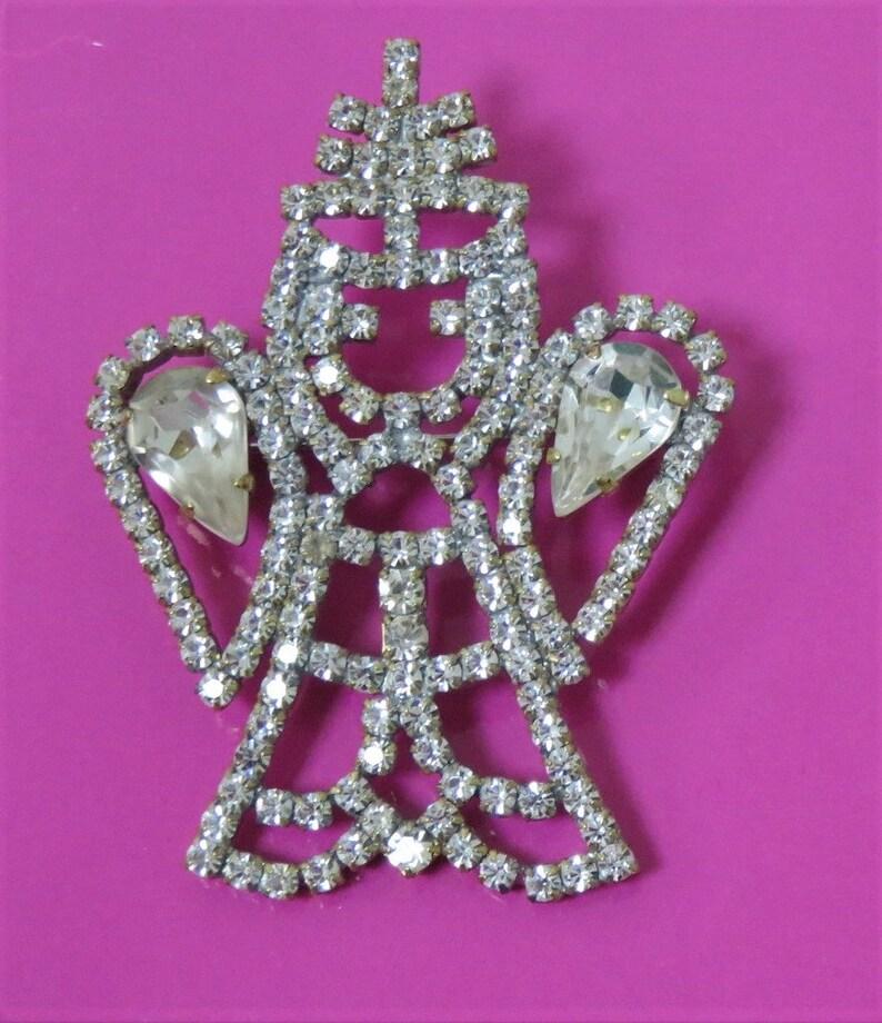 Crystal Angel Pin Brooch Czech Rhinestones Vintage Dazzler image 0