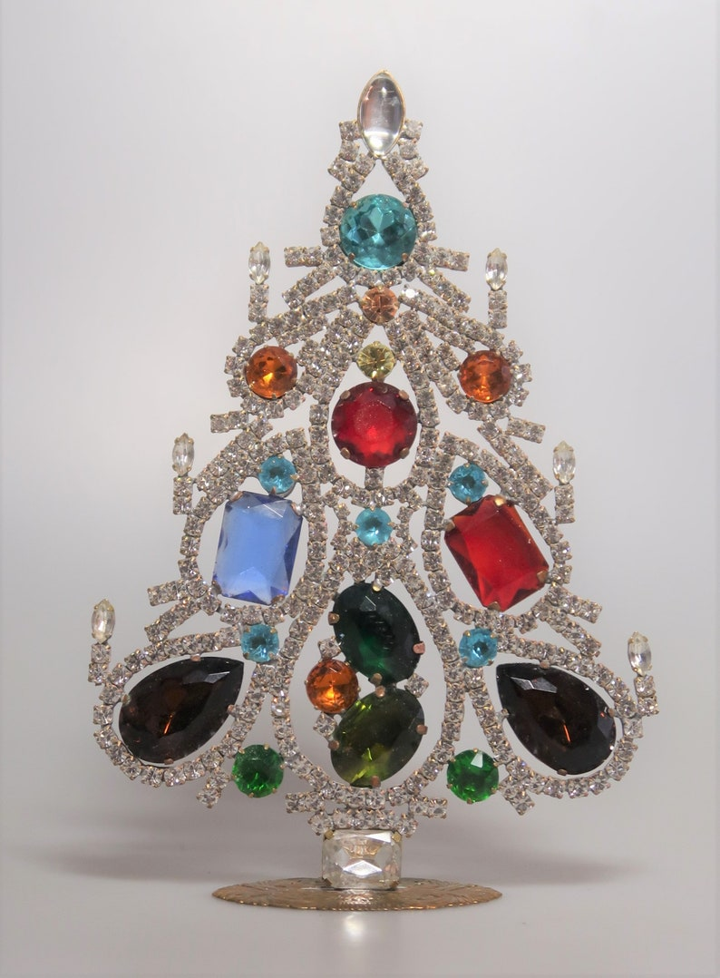 Lovely Rhinestone Christmas Tree Czech Decoration Ornament image 0