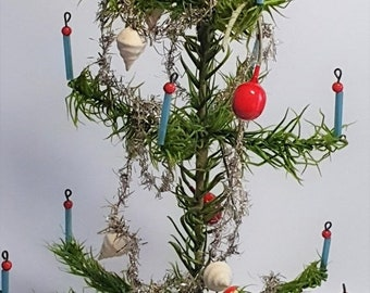 ON SALE Antique Goose Feather Tree, Decorated Christmas Tree w. Glass Ornaments and Garland