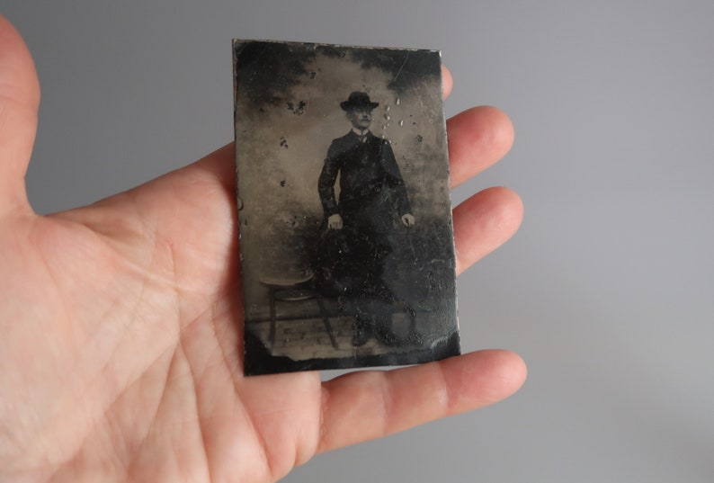Antique Tintype Metal Photo Victorian Photography image 0