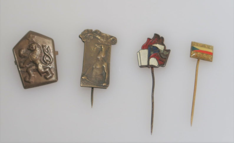 Antique Czech Badges Pins Sport Sokol Military Pioneer image 0