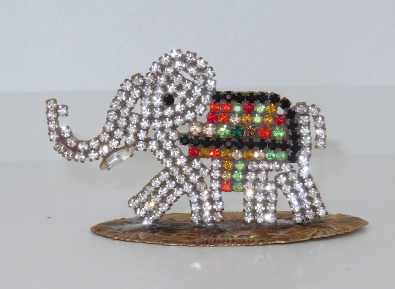 Vintage Handmade Miniature Circus Elephant Czech Rhinestones image 0