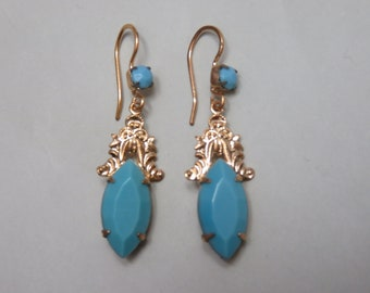 Vintage Gold Plated Turquoise Drop Earrings