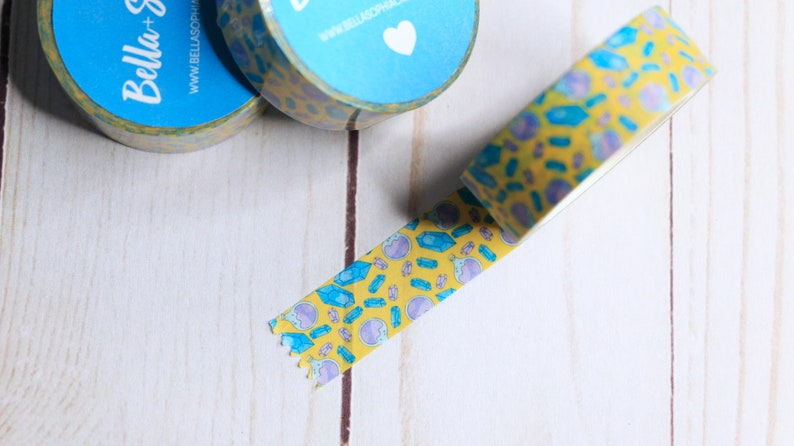 Yellow Washi Witchy Kawaii Washi Tape Cute Masking Tape Yellow Tape Yellow Crystal Gem and Potion Washi Tape Planner Accessories