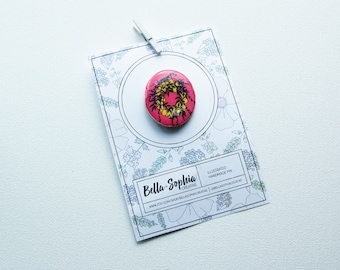 Handmade Illustrated Floral Wreath Pin/Brooch/Flair