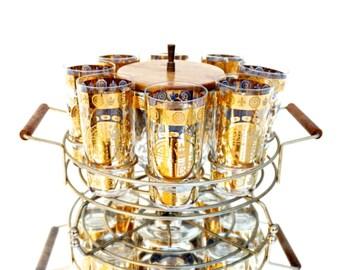 Mid-Century 22 Kt Gold Signed Vito Bari 10-Piece Barware Set || Retro Hollywood Regency Madmen Bar Highballs Ice Bucket Caddy Teak Details