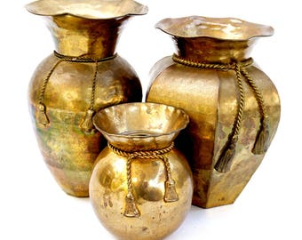 x3 Large Vintage Assorted Brass Vases   Rope & Tassel Hammered Urns    Mid-Century Hollywood Regency Boho Chic Home Décor
