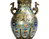 Antique Cloisonné Champleve Vase Urn Large Meiji Period Colorful Highly Detailed Collectible Japanese Metal Enamel Vase Peacock Handles