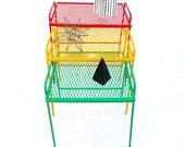 Mid-Century Salterini Metal Nesting Tables Set of 3 Red, Yellow, Green quot One Love quot Indoor Outdoor Versatile Accent Furniture