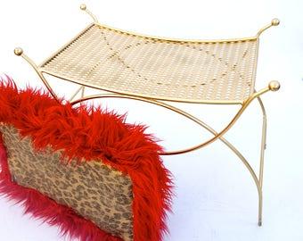 Mid-Century Hollywood Regency Empire Gold Metal & Faux Fur Vanity Bench    Vintage Glam Boudoir Seating