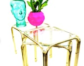 x3 Vintage Modernist Brass Glass Accent Tables Plant Stands Chic Gold Metal Side Tables