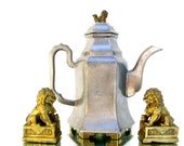 Vintage Chinese Pewter Brass Foo Dog Teapot Pitcher