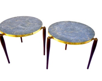 Mid Century Marble Grey U0026 Gold Formica Accent Tables/Plant Stands +Two  Available+ Walnut Tapered Legs Brass Trim Circular Retro Side Tables