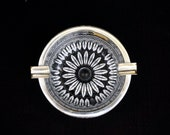 Vintage West German Silver Rim Handcut Crystal Ashtray Trinket Dish