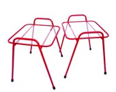 Mid-Century Modern Red Metal Glass Indoor Outdoor Accent Tables Two Available