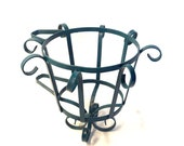 Vintage Peacock Blue Scrolled Wrought Iron Mountable Plant Stand Hanging Planter Pot Holder Mid-Century Boho Garden Decor