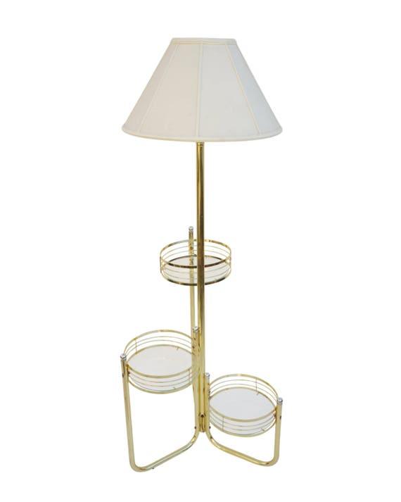 Vtg Hollywood Reg Brass Glass Three Tier Plant Stand Etsy