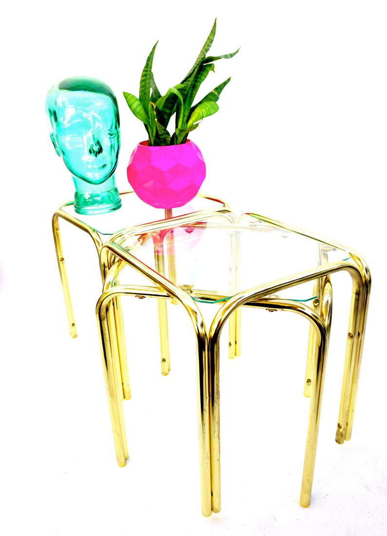 X3 Gold Metal Stacking Tables Vintage Modernist Brass Etsy