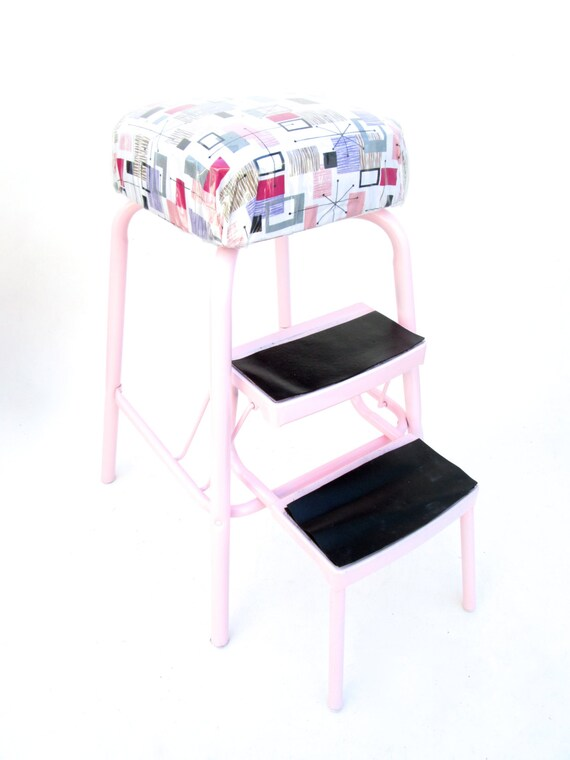 Admirable Vintage Retro Pink Metal Step Stool Chair Combo Atomic Era Starburst Vinyl Covered Cushion Pabps2019 Chair Design Images Pabps2019Com