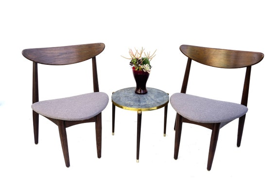 Incredible Sale Mid Century Danish Modern Walnut Wood Accent Chairs Triangular Grey Cushions Low Wide Frames Mcm Conversation Seating Squirreltailoven Fun Painted Chair Ideas Images Squirreltailovenorg