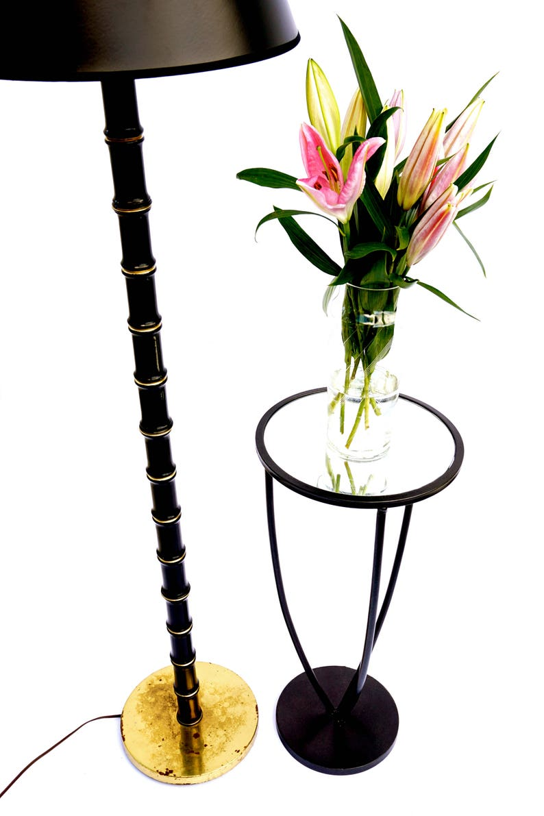 |\u2022 Vintage Faux Bamboo Floor Lamp Black /& Gold Chinoiserie Chic Lighting SALE