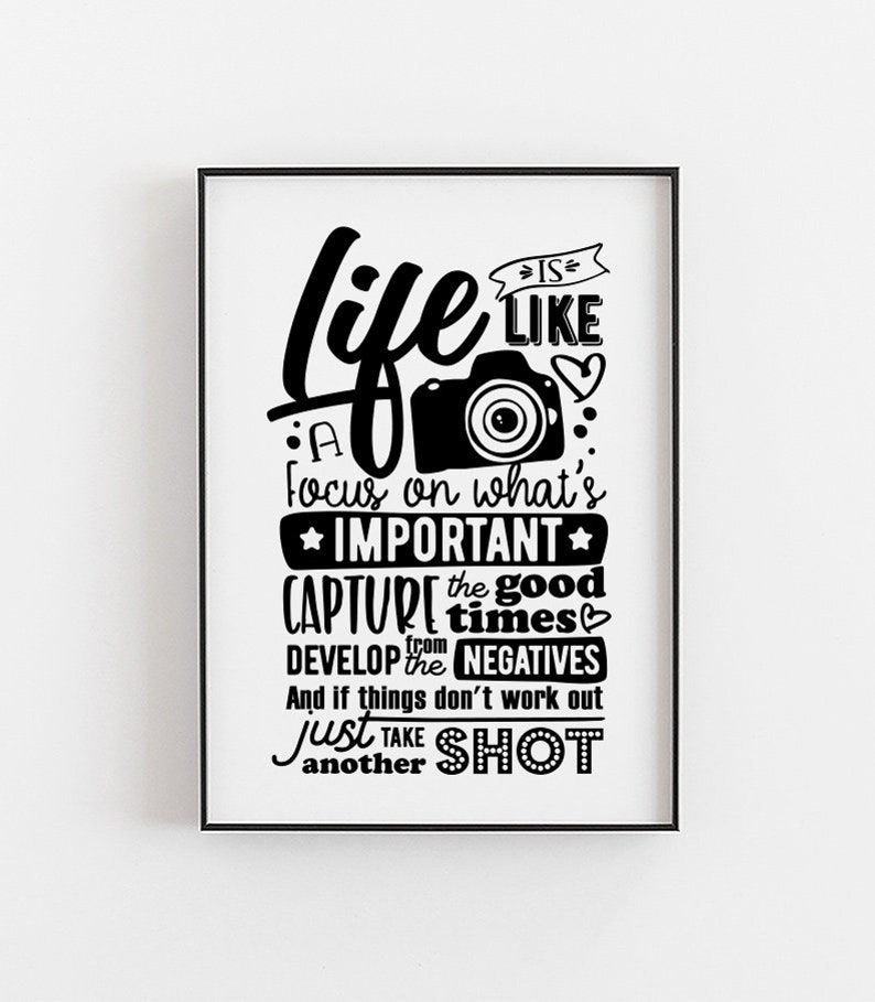LIFE IS LIKE A CAMERA FOCUS Inspirational POSTER A4 High Quality Print Sign