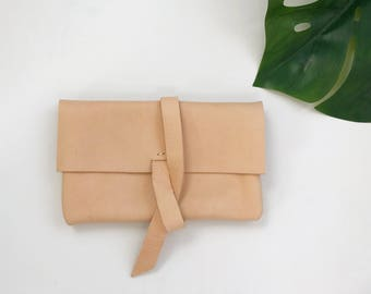 Natural Leather Wrap Clutch