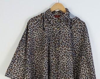 2814f54ca646 PORTOMORO Vintage Leopard Print Raincoat Poncho Hooded Jacket Made in Italy  O/S