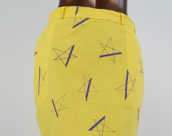 08829969e 80s Star Print Skirt Yellow Pencil Skirt Retro 1980s Wiggle Skirt Vintage  Indian Cotton Skirt / size L large
