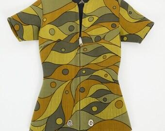 625044f0387df Vintage 60s Beavertail Wetsuit Mod Geometric Op Art Print Surf Suit
