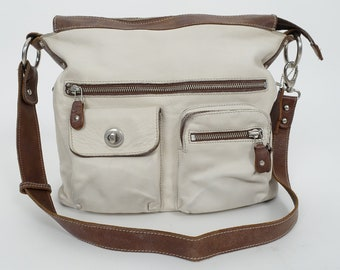 d2cde26f582 ROOTS Canada Shoulder Bag Ivory   Tan Brown Tribe Leather Crossbody Village  Bag Vintage Leather Purse Tote